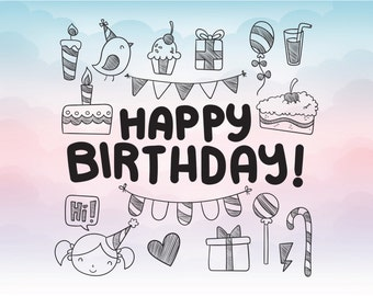 Happy birthday card in Svg Eps Dxf Pdf Ai Png Birthday greeting vector instant download printable file for cutting programs