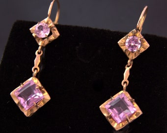 Sapphire Pink Gold Earrings antique earrings Sapphire rose gold 18 k