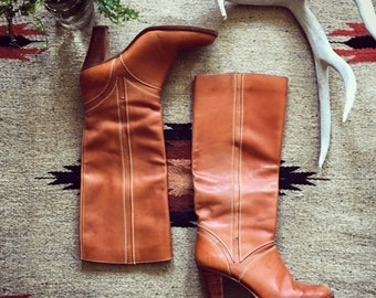 Vintage Leather Knee High Boots Heeled Boot Western Retro Camel Side Zip Boot Cognac Tan Brown Boots