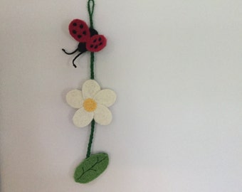 Needle Felted Lady Bug and Flower Swag