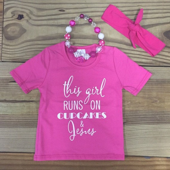 Baby Girl Clothes Cupcakes & Jesus Graphic by
