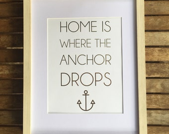 Framed Gold Leaf Quote Print Anchor 8x10