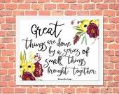 ON SALE 50% OFF Inspirational art, floral printable art, wall art print, printable wall art, printable quote, typography, dorm room decor, d