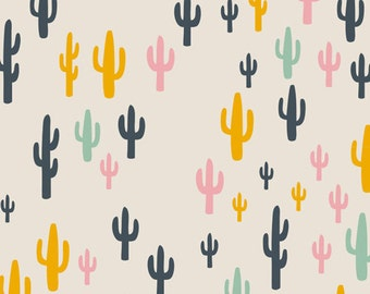 Cactus Field Fun, Cactus Fabric, Woodland Fabric, Morning Walk Collection,Cacti Field Fun, Art Gallery Fabrics,Leah Duncan, Nursery Fabric,
