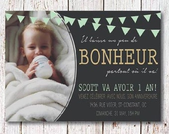 Kids birthday invitation - 1 year party