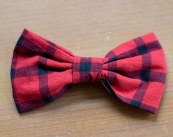 Red and Black Plaid Cute Handmade Hair Barrette Clip Bow