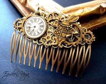 Steampunk hair comb Alice in Wonderland, by Epsilon Vega