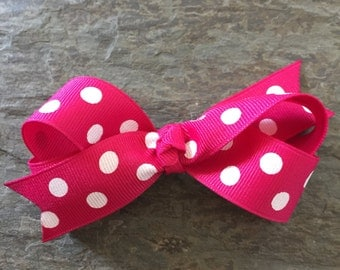 The Bella Bow - Shocking Pink with White Dot