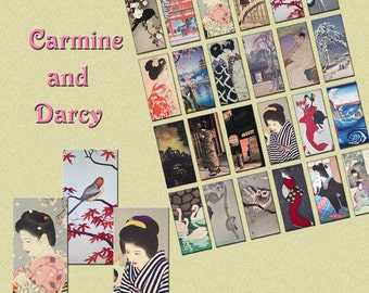 Japanese 1 x 2  Domino digital collage sheet, 24 designs, ATC, jewellery making, scrap booking, commercial use!