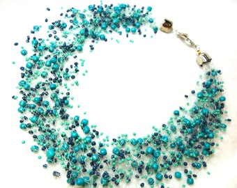 Turquoise airy necklace, multistrand statement necklace