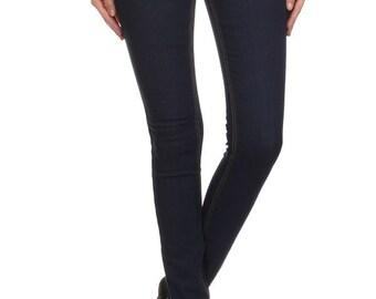 Enjean Women's Stretch Denim Skinny Jeans w/ Gold Stitching, Dark Wash