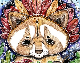 Raccoon Print Nursery Boho Decor Wall Raccoon Print Art Cute Print Art Cute Raccoon Tribal Art Print Shaman Wall