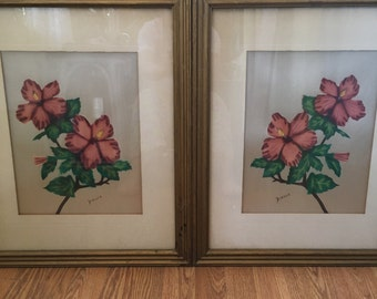 Vintage Painting on Silk Artisi Dimoka Botanical Asian Art Asian Silk Art