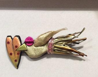 Bird Heart Pin