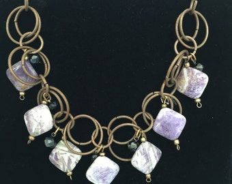 Rustic bib style necklace with purple beads
