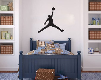 Michael Jordan wall decal Basketball Jumpman vinyl sticker wall art mural available in 8 different sizes and 30 different colors