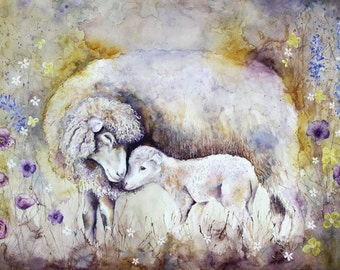 Sheep Print Art Print Sheep Picture Sheep Illustration Sheep Wall Decor Sheep Wall Art Wall Hanging