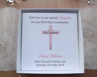 Luxury Boxed Girls Personalised Cross & Hearts First Holy Communion Card