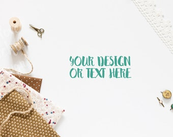 Ribbon, Thread, Fabric and Scissors on a White Background /  Sewing supplies / Stock Photography / Product Mockup / High Res File