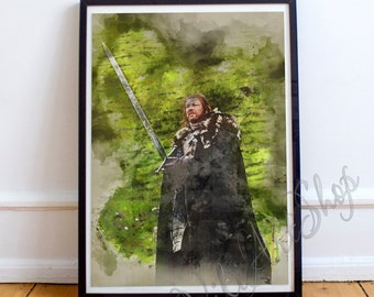 Lord Eddard Stark Watercolor Poster, Game of Thrones Art Poster, Watercolor Painting, Ned Stark Watercolor Art Print