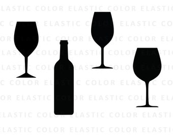 Wine glass svg - wine glasses clipart vector - wine bottle - wine glass silhouette svg, eps, dxf, png
