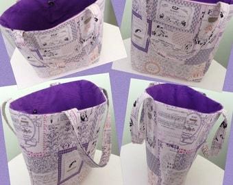 Handmade bag with purple lining. Beach, summer, holiday, shopping