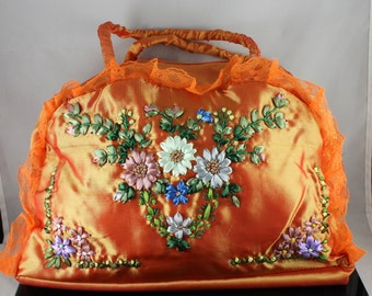 Handmade Handbag Ribbon Embroidery Flowers Totes Bag Yellow