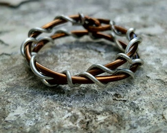 silver wrapped copper ring - copper silver cross ring - copper wire ring - silver wire ring - copper silver wrapped wire - copper wrap ring
