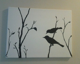 Birds on a Branch Canvas Painting