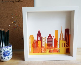 New York Skyline Picture, laser cut paper and card silhouette, cityscape print, artwork