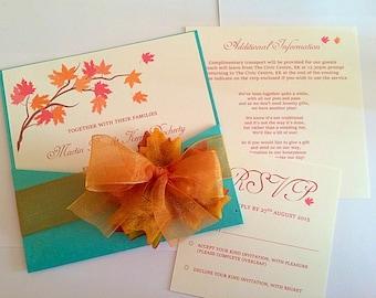 Autumn themed pocket card wedding invitations