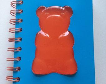 Cute Raised Teddybear Gummy Bear Spiral Blank Notepad Mini Book - 4 x 5.5 in. - 150 blank sheets