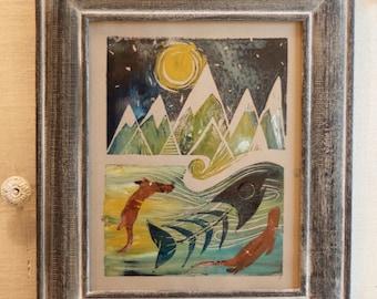 Happy Otters Original Block Cut Painting, Linocut