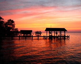 Albemarle Sound Dock Sunset Print