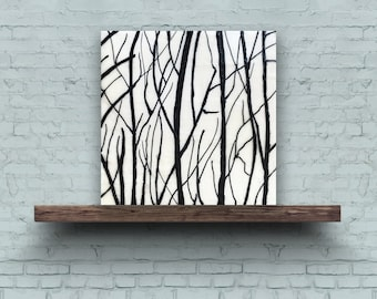 EARLY SPRING BRANCHES 3 - Original Encaustic Painting Black & White, 8x8in