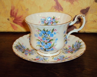 "Vintage Royal Albert Tea Cup and Saucer Springtime Series ""Forget Me Not"""