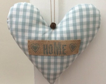 "Large Handmade Shabby Chic Hanging Fabric Heart Decoration ~ Laura Ashley Gingham Duck Egg Fabric ~ Finished with the Message  ""Home"""