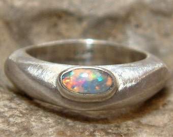 Abstract opal ring / silver ring with opal -- Uniqum handmade from own design
