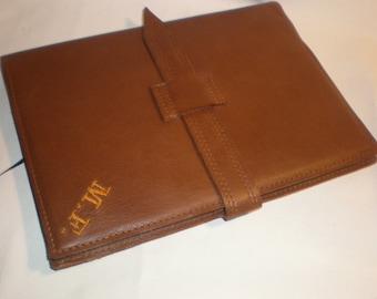 Leather Notebook Journal note book case handmade in UK personalised LOTHS UK