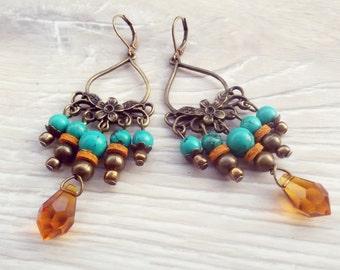 Turquoise earrings Boho beach earrings Bohemian Turquoise jewelry Gypsy earrings Summer beach jewelry Turquoise Statement earrings for mom