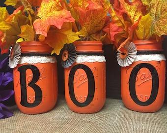 Halloween themed mason jar set, Halloween distressed mason jar decor, Boo jars, 4pc Halloween set