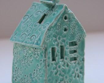 Turquoise bird house tea light holder / modern minimalist ceramic