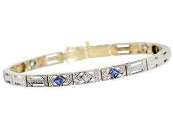 Diamond Sapphire Bracelet - Vintage 1925