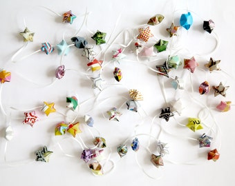 Origami lucky stars garland//set of 5