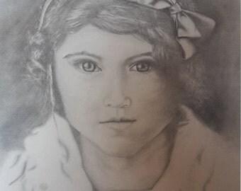 12X11 Original Pencil Sketch 'Young Woman'