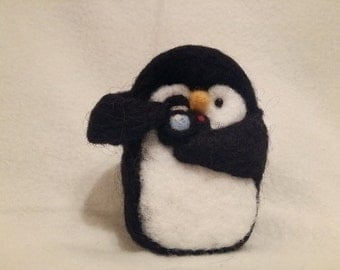 The Photographer Penguin felted black and white