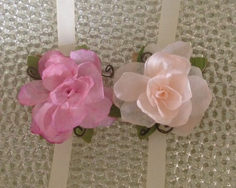 Corsage / Handcrafted Paper Flower Corsage w/ Burlap and Ribbon Tie / Special Occasions Keepsake