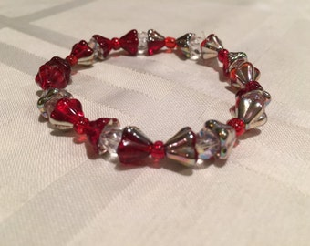 Red and Silver Bow Like Bracelet