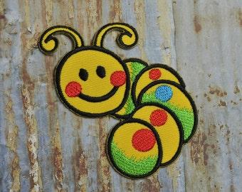 Glow Worm Caterpillar Iron On Sew On Patch Transfer