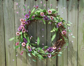Purple and pink daisy wreath